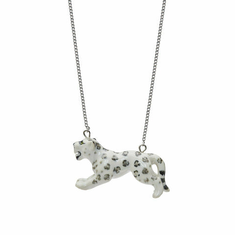 AND MARY Ceramic Jewellery Snow Leopard Necklace