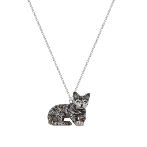 AND MARY - Ceramic Jewellery - Tabby Kitten Laying - Necklace
