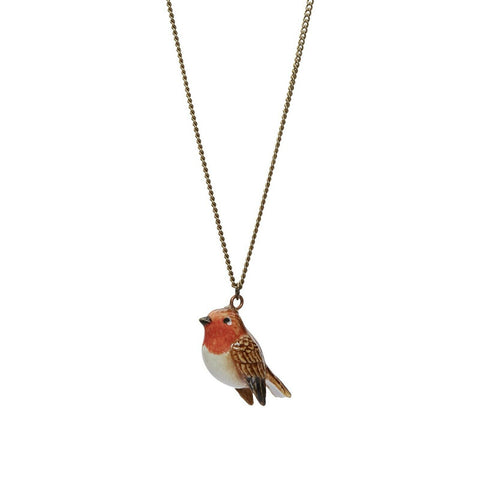 AND MARY - Ceramic Jewellery - Tiny Robin Charm - Silver Necklace