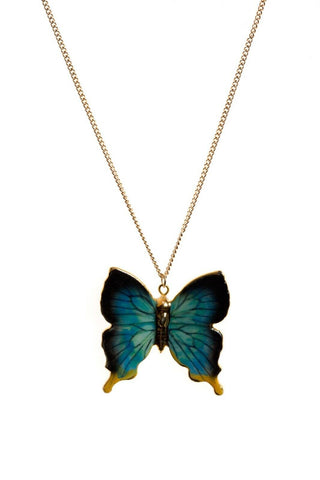 AND MARY Fashion Jewellery Blue and Gold Butterfly Pendant