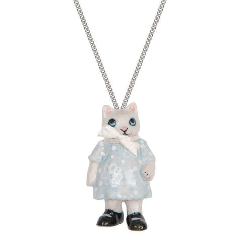 AND MARY Fashion Jewellery Kitten Girl With White Ribbon Pendant