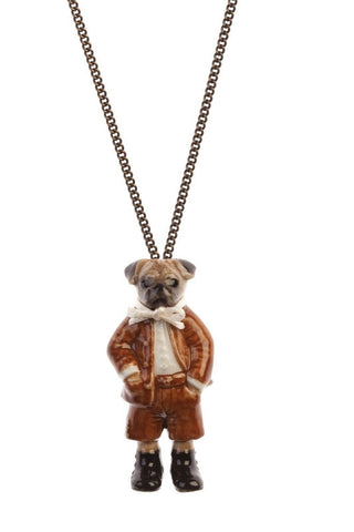 And Mary Fashion Jewellery Pug Boy With Cream Ribbon Pendant