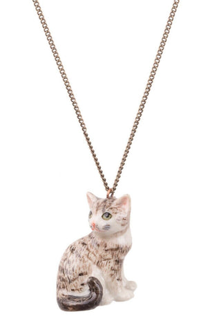 AND MARY - FASHION JEWELLERY - TABBY KITTEN SITTING NECKLACE