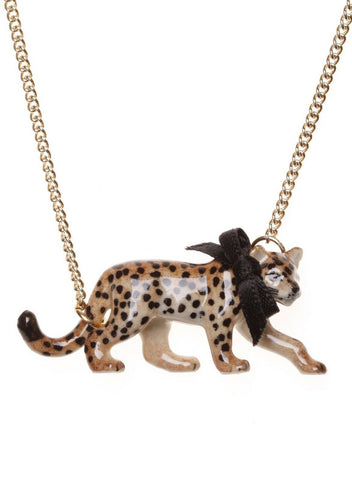 AND MARY - FASHION JEWELLERY - WALKING LEOPARD NECKLACE