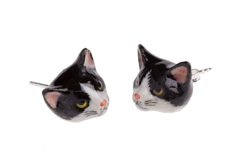 AND MARY Ceramic Jewellery Cat Face Black & White Cat Ear Studs
