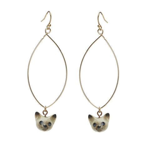AND MARY Ceramic Jewellery - Cat Face - Drop Earrings