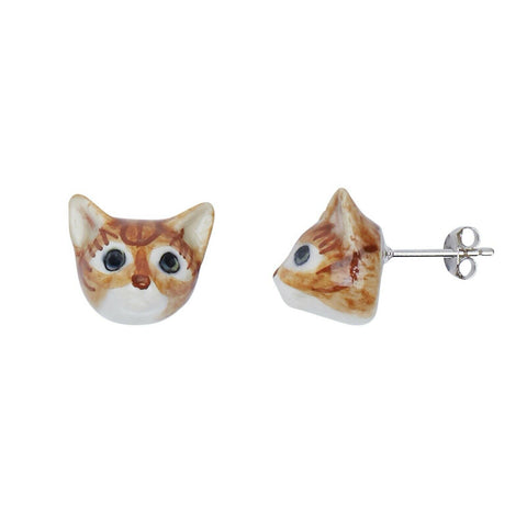 AND MARY Ceramic Jewellery Cat Face Ginger Tabby Ear Studs