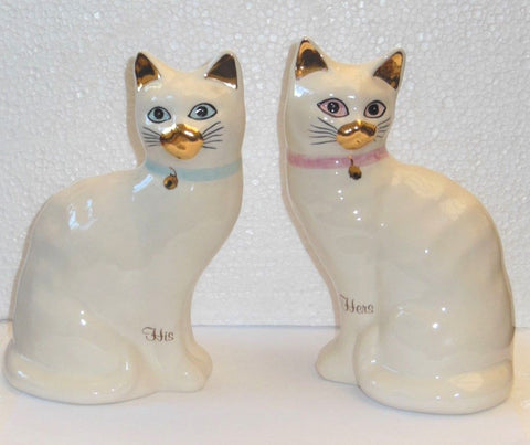 "Babbacombe Pottery – ""A Pair of His and Hers White Cat Money Boxes"""
