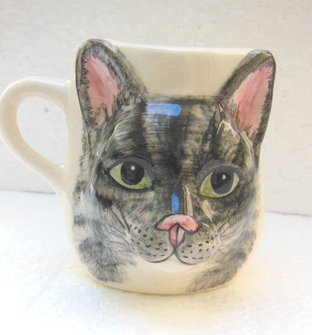 "Babbacombe Pottery – ""Drinking Mug with Grey Tabby Cat Face"""