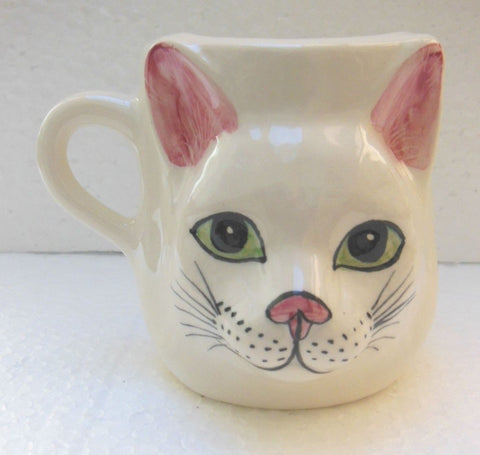 Babbacombe Pottery Drinking Mug with White Cat Face