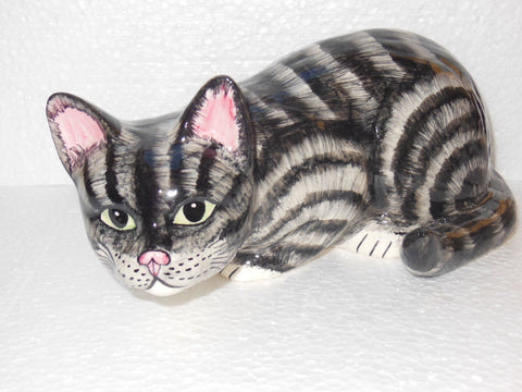 Babbacombe Pottery Grey Cat Pouncing