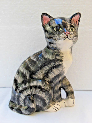 Babbacombe Pottery Grey Kitten with Paw Raised