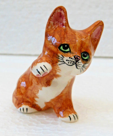 "Babbacombe Pottery – ""Small Ginger Kitten with Paw Up"""