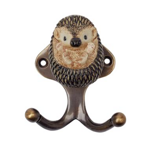 And Mary: Ceramic Hook: Baby Hedgehog: Antique Brass Finish
