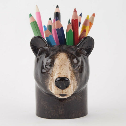 Quail Ceramics: Pencil Pot: Brown / Black Bear