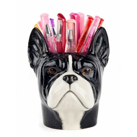 Quail Ceramics: Pencil Pot: Black & White: French Bulldog