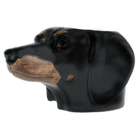 Black and Tan Dachshund face Egg Cup from Quail Ceramics