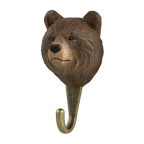 Wildlife Garden: Hook: Hand Carved - Brown Bear