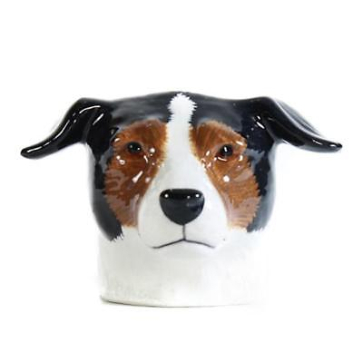 Brown Black and White Jack Russell face Egg Cup from Quail Ceramics