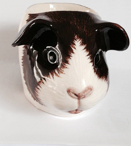Brown and White Guinea Pig Face Egg Cup from Quail Ceramics