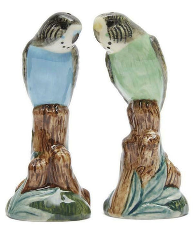 Quail Ceramics: Salt & Pepper Pots: Budgerigars Green & Blue