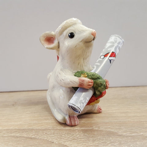 GOEBEL - Figurine - CHRISTMAS MOUSE WITH WREATH