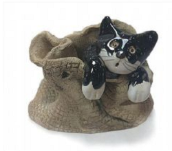 Pottery Cat in a sack
