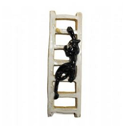 Pottery Cat and Mouse on a white ladder