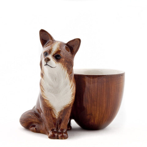 Quail Ceramics: Egg Cup With Chihuahua