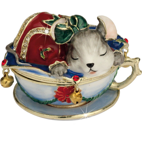Arora Design Christmas Mouse in a Cup Trinket Box