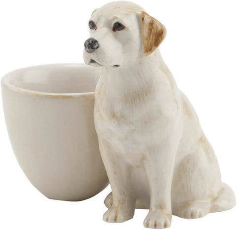 Quail Ceramics: Egg Cup With Golden Labrador