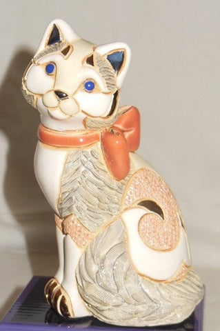 De Rosa Rinconda Sculpture - Cat With Red Ribbon