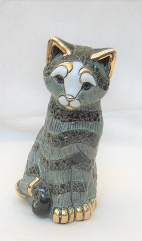 De Rosa Rinconda Sculpture - Blue Striped Cat Sitting