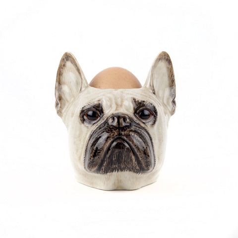 Fawn Coloured French Bulldog Face Egg Cup from Quail Ceramics