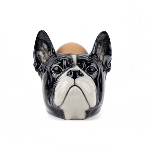 Quail Ceramics: Face Egg Cup: French Bull Dog; B & W