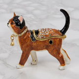 Juliana:Trinket Box: Treasured Trinkets: Cat : Ginger & Black with Jewelled Coat
