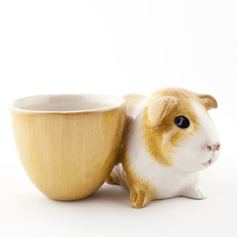 Quail Ceramics: Egg Cup With Guinea Pig; Gold & White