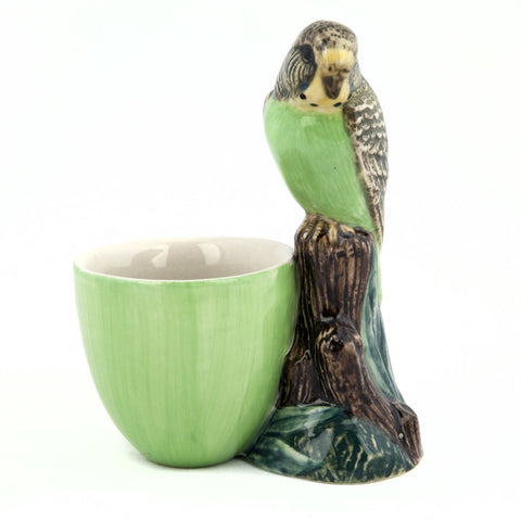 Quail Ceramics: Egg Cup With Budgerigar - Green
