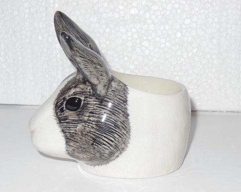 Quail Ceramics: Face Egg Cup: Dutch Rabbit - Grey & White