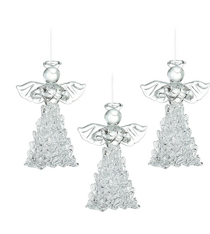 HEAVEN SENDS - GLASS ANGELS WITH FANCY SKIRT - SET of 3
