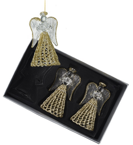 HEAVEN SENDS - 3 GLASS ANGELS With SPUN GOLD SKIRTS