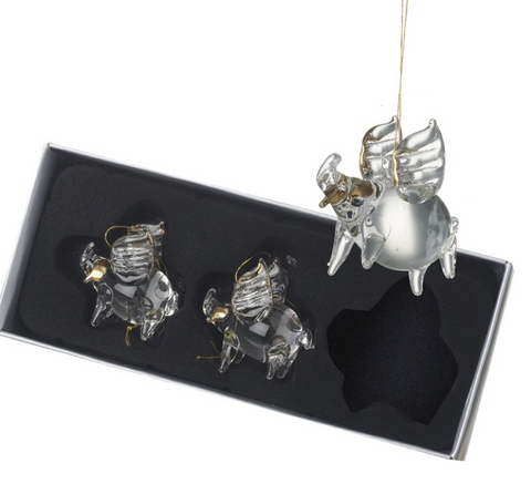 HEAVEN SENDS - GLASS PIGS - SET OF 3