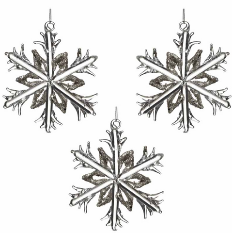 HEAVEN SENDS - GLASS SNOWFLAKES - SET OF 3