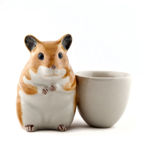Quail Ceramic: Egg Cup With Hamster