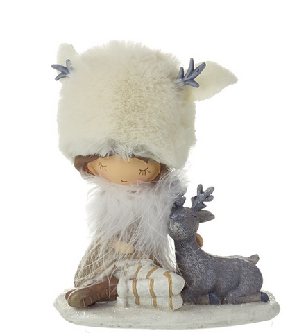 Heaven Sends Girl With Fur Hat sitting with deer