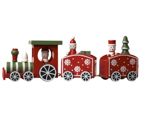 Heaven Sends Green Wooden Christmas Train with presents