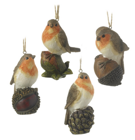 Heaven Sends Hanging Ornaments Set of 4 Robins