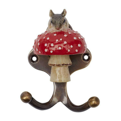 And Mary Ceramic Hook   Mouse on Toadstool: Antique Brass Finish