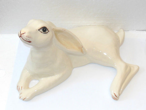 Large White Moon Gazing Hare from Babbacombe Pottery