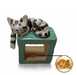Pottery Cat and Mouse with a teal cube